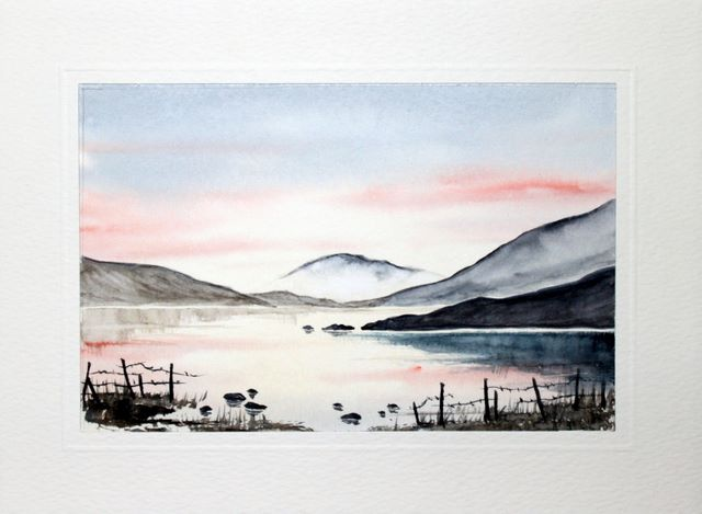 Sunset over a lake watercolour greeting card