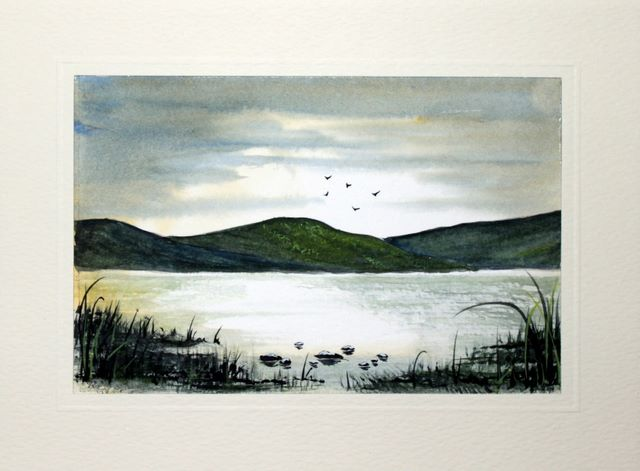 Atmosheric landscape watercolour greeting card