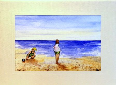 Child wrapped in towel on beach greetings cards,handmade cards,handmade greetings cards,handmade greeting cards,making