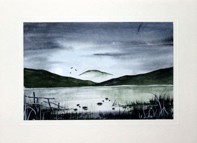 Lakeland scene at dusk watercolour greeting card