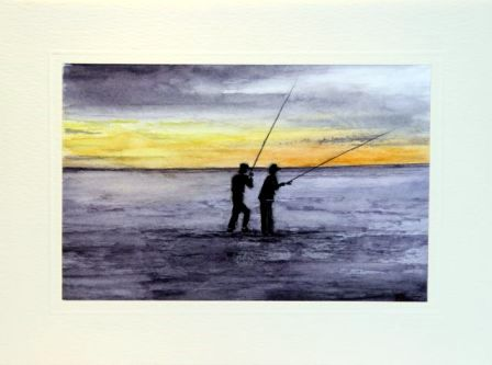 Two Men fishing stood in the sea Birthday Cards