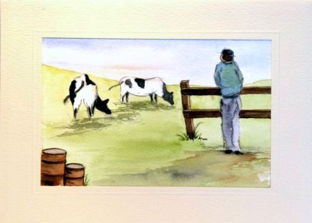 Two cows with farmer