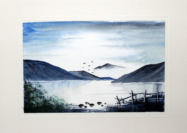 Lakeland scene at dawn watercolour greeting card