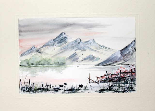 Distant mountains across the water watercolour greeting card