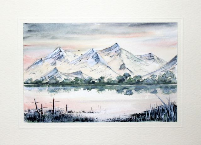 Mountain Lake view watercolour greeting card