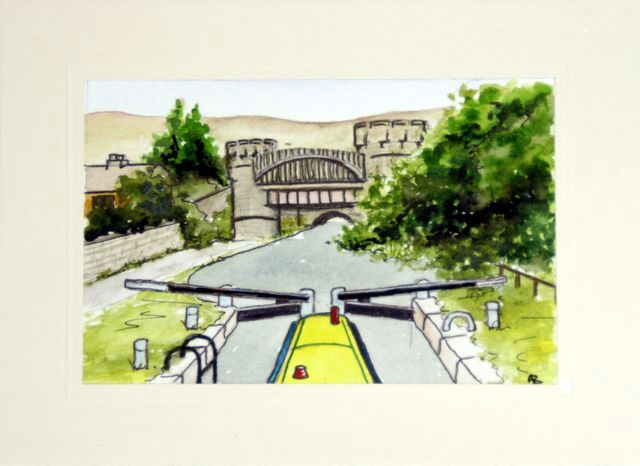 Canal Lock at Todmorden greetings cards hand made
