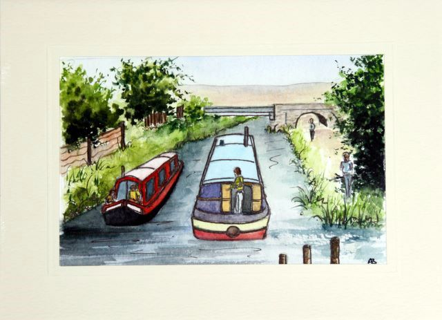 Canal Narrow boats at Kingsway Rochdale