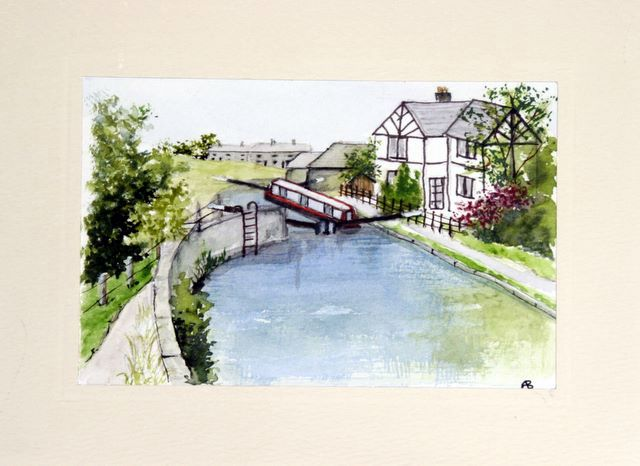 Canal lock at Littleborough Water Color greetings cards