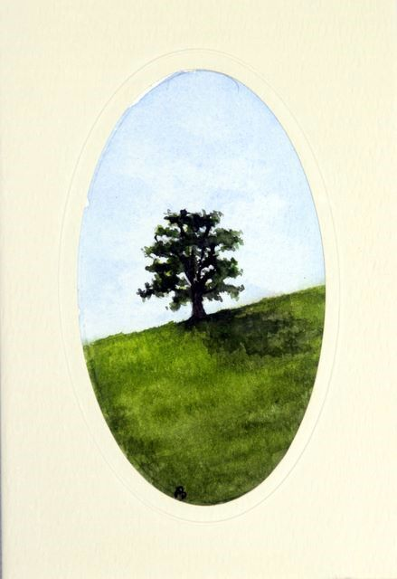 Tree on a slope Water Color greetings cards