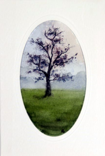 Misty tree greetings cards hand painted