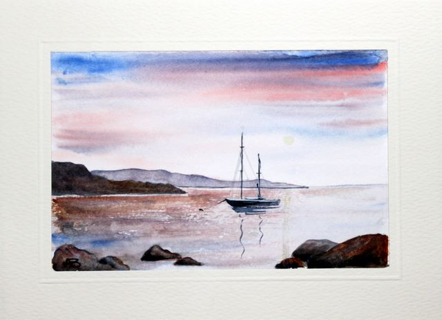 Boat anchored on a lake in the sunset watercolour greeting card