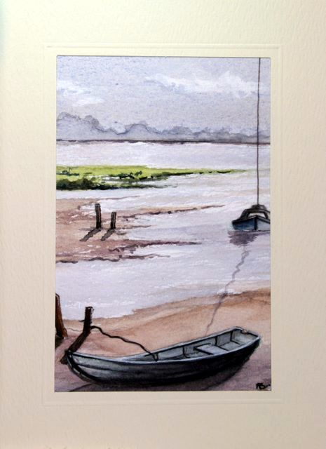 Boat on mud flat in low tide Water Color greetings cards