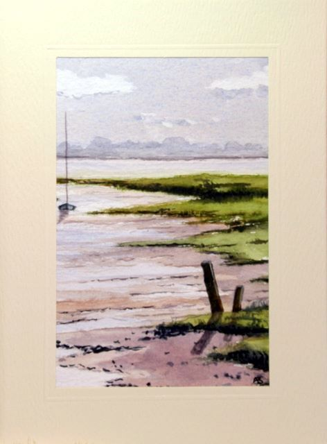 Mud flats at low tide greetings cards,handmade cards,handmade greetings cards,handmade greeting cards,making