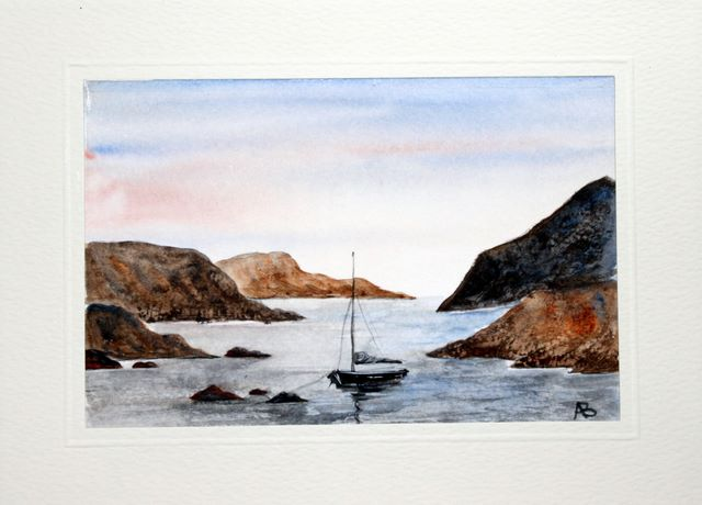 Boat navigating through the rocky seas watercolour greeting card