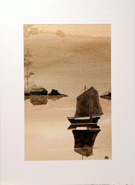 China sails Water Color greetings cards