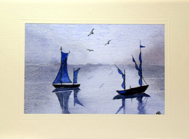 Twin sail boats greeting cards