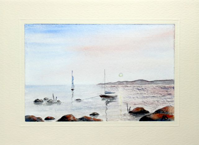 Boats anchored out in the distance watercolour greeting card