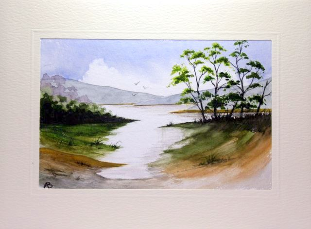 wet in wet painting of a tarn in the lakes