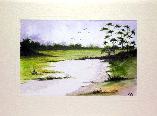 Summer painting of a dried up lake district tarn