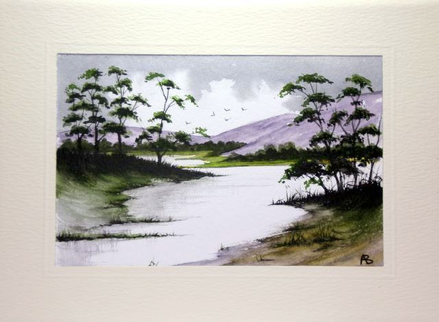 Loose wetinwet watercolour landscape card
