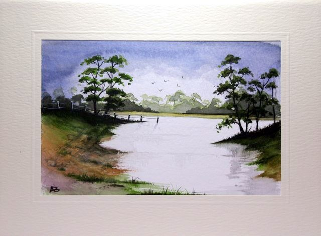 Quick painting sketch of a tarn in the lake district