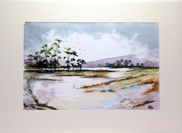 water colour painting of a scottish loch