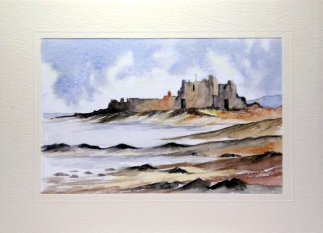 Castle by the sea water color greetings cards