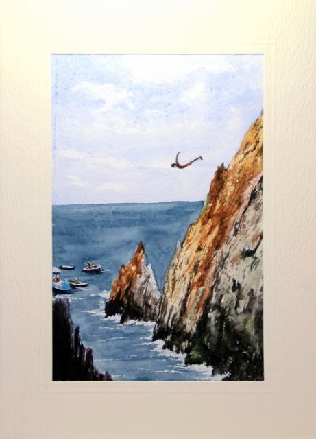 Man high diving of the Mexican cliffs in to the sea greetings cards,handmade cards,handmade greetings cards,handmade greeting cards,making