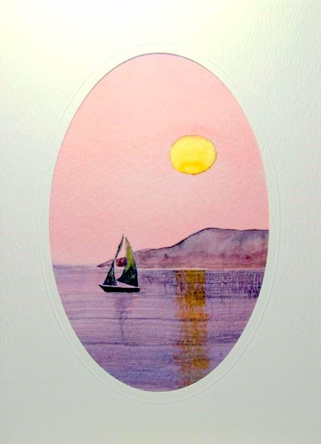 Softly painted sunset on the sea with sail boat