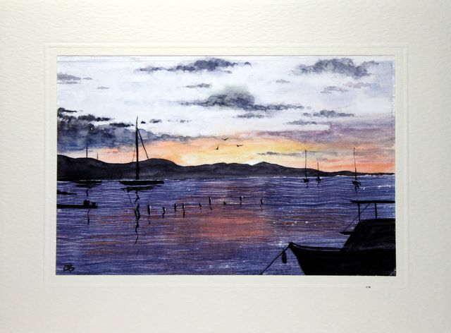 Sunset on the marina greetings cards,handmade cards,handmade greetings cards,handmade greeting cards,making