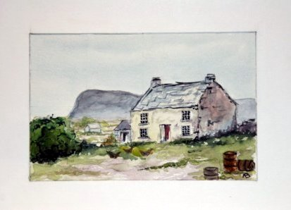 Old Cornish cottage set in a field