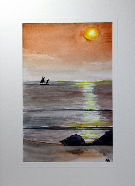 Gentle Waves With Boat In The Distance Greetings Cardshandmade Cards Handmade