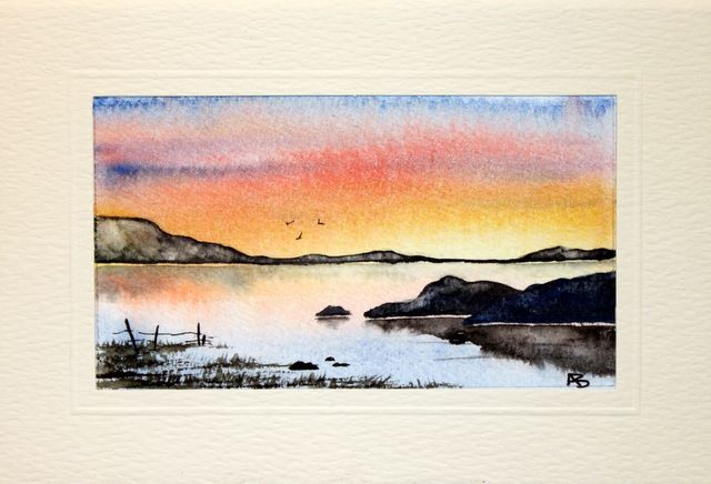Lakeland sunset landscap Handmade Water Color greetings cards