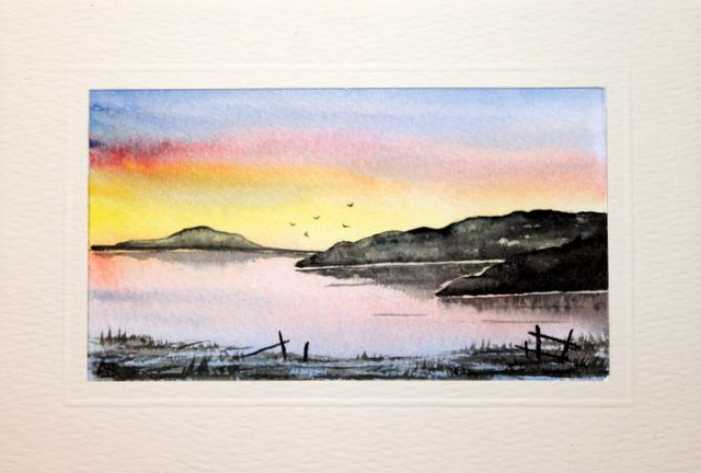 Sun setting over distant moorland Water Color greetings cards