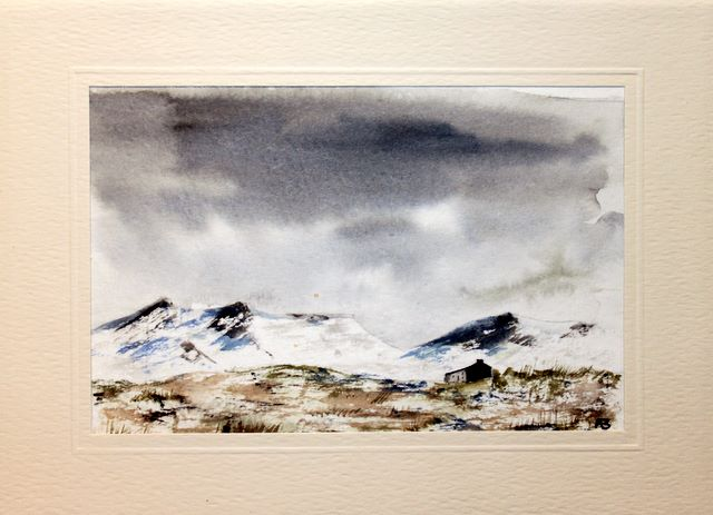 Atmospheric sky over mountain range greetings cards,handmade cards,handmade greetings cards,handmade greeting cards,making