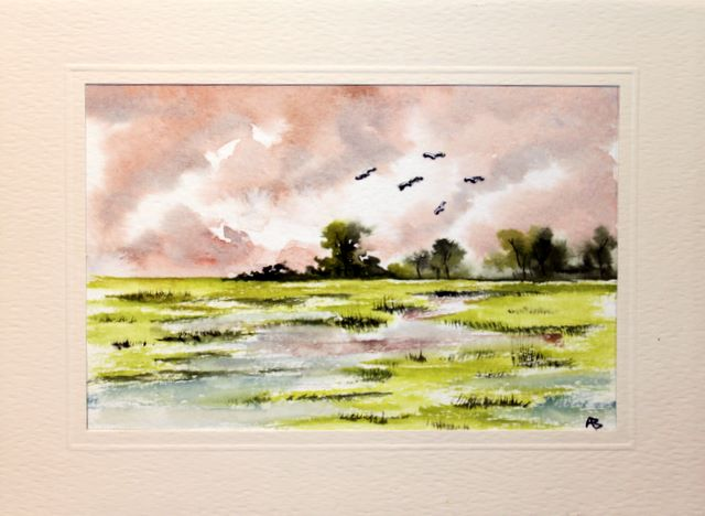 Birds flying over swampy grassland with distant trees greetings cards,handmade cards,handmade greetings cards,handmade greeting cards,making greeting cards,card making,make your own,card making,make greeting cards,homemade cards,birthday cards,christmas cards,hand made greeting card,greeting cards,Free e-cards, printable birthday cards