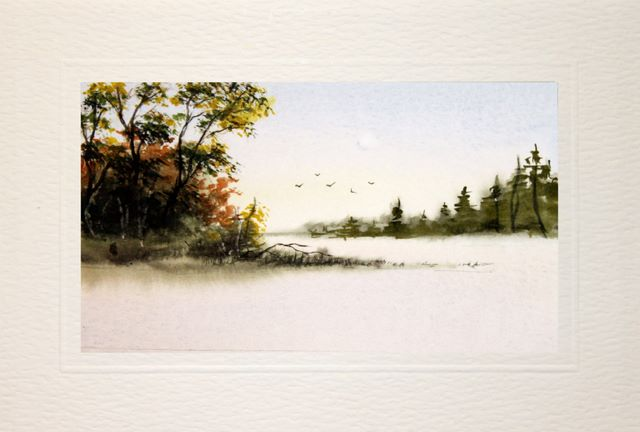 Happy Birthday Card, Misty lanscape watercolour