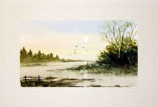Birthday Greetings, landscape watercolour