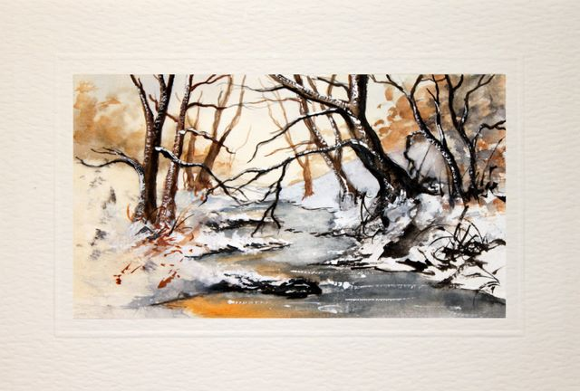 Birthday Cards,Wintery tree lined river, landscape painting