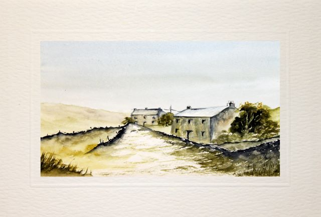 hand made birthday card, painted greetings cards, Old farmhouse