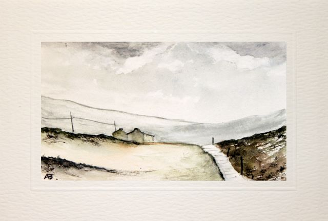 Moorland landscape, greetings cards,painted by hand