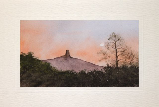 hand made greeting cards,Gladstonbury Tor, lanscape, watercolour, watercolor