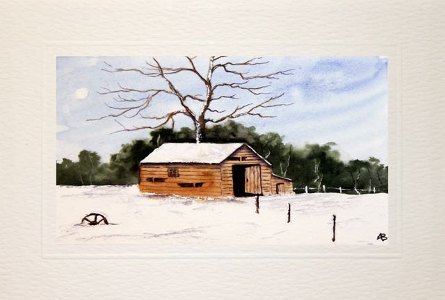 Handmade Water Color greetings cards, Barn covered in snow,Winter landscape,watercolour painting
