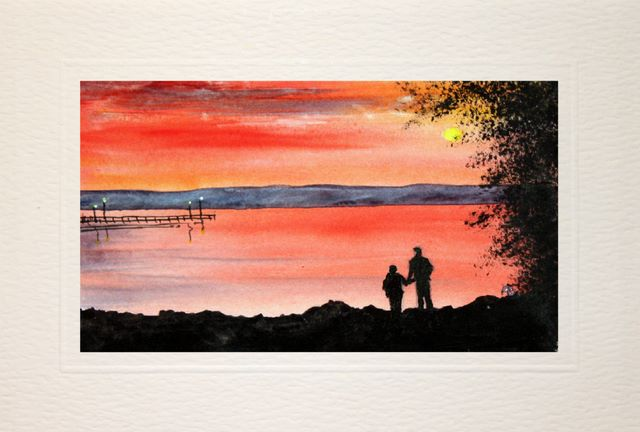 Birthday cards hand painted,Lovers in the sunset,