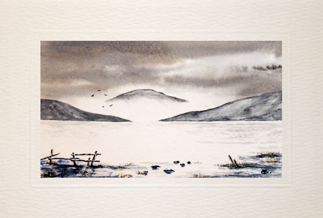hand made greeting cards, Frosty moorland landscape,watercolour painting, Birthday card