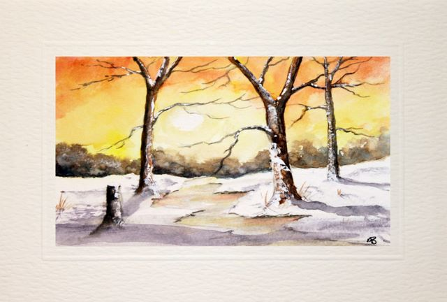 greetings cards hand made,Winter sunrise, watercolor, landscape,hand painted