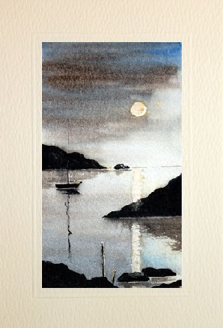 hand made greeting cards boat scene 2