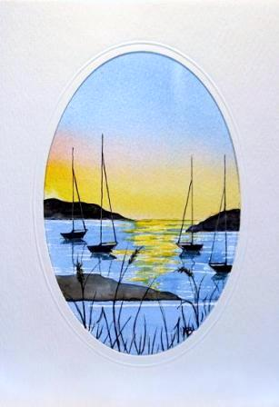 Boat scene 3 Water Color greetings cards