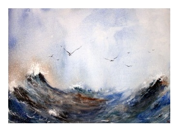 Seagulls on the rough sea watercolour painting