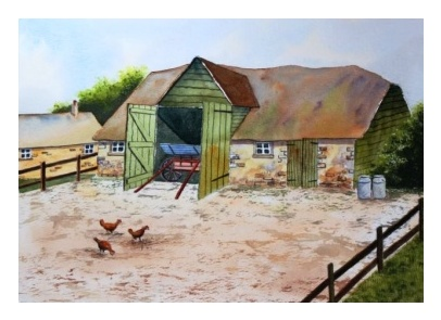 The old wooden cow shed and chickens